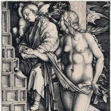 诱惑懒惰。雕刻   Albrecht Durer