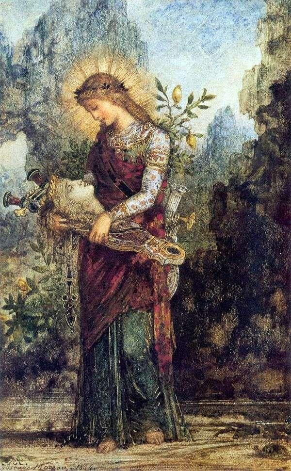 俄罗斯女孩与奥菲斯的头上他的七弦琴   古斯塔夫莫罗