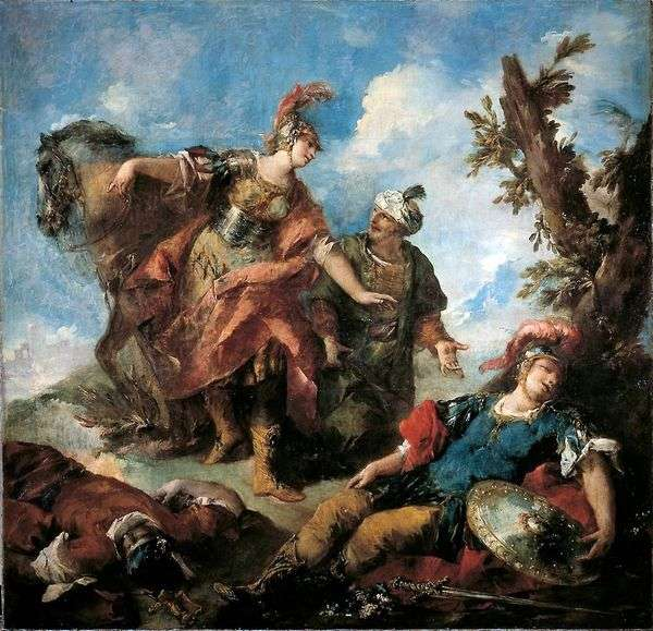 Erminia和Wafrin找到受伤的Tancred   Giovanni Antonio Guardi