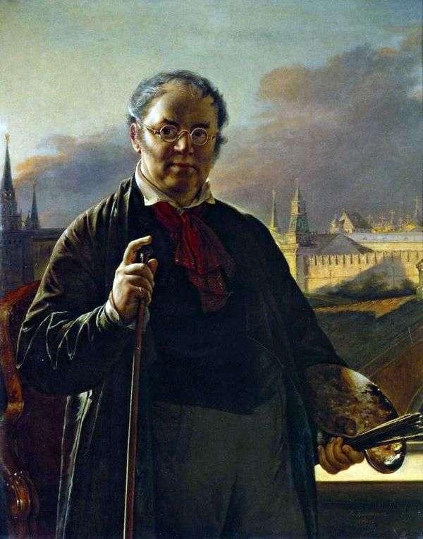 与刷子的自画象在克里姆林宫的背景   瓦西里Tropinin