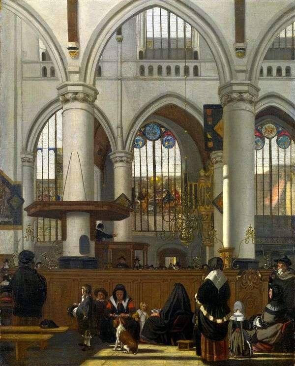 阿姆斯特丹老教堂的内部在服务期间   伊曼纽尔de Witte