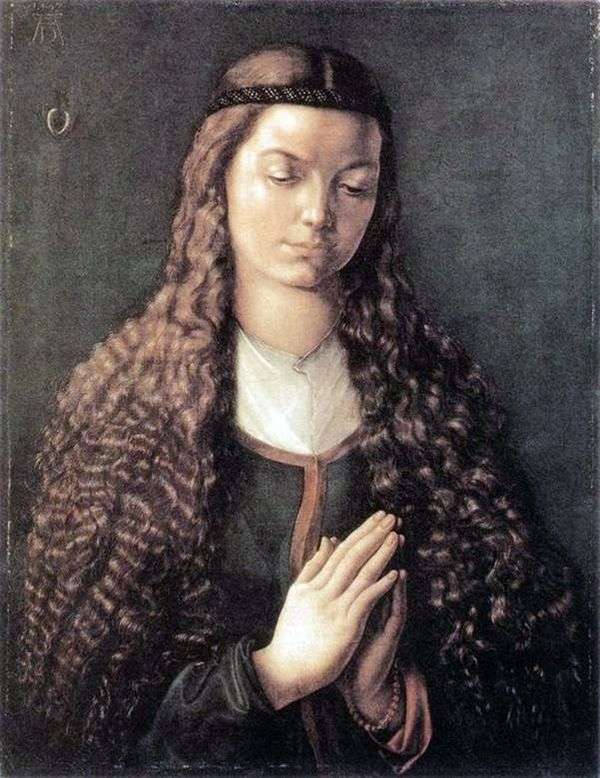 一个女孩的画象有流动的头发的   阿尔布雷希特Durer