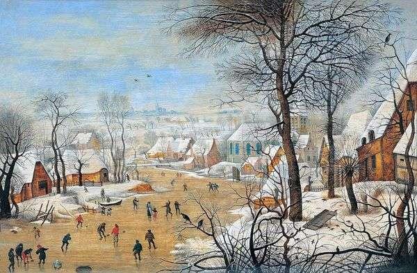 与滑冰者和鸟陷阱的风景   彼得Bruegel