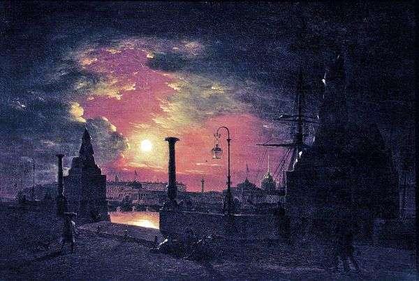 秋天的夜晚在彼得堡。有埃及狮身人面象的码头在涅瓦河在晚上   马克西姆Vorobev