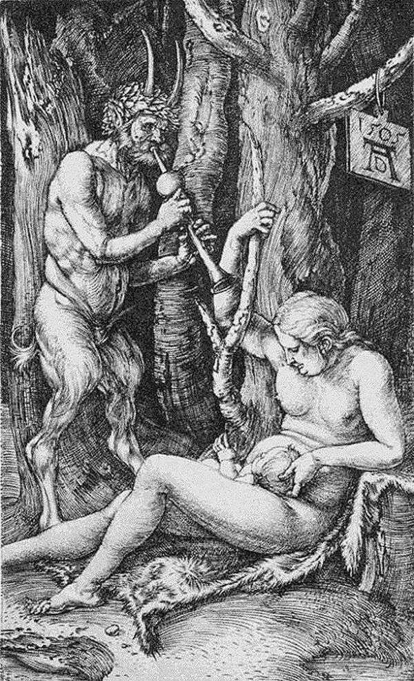 讽刺的家庭。雕刻   Albrecht Durer