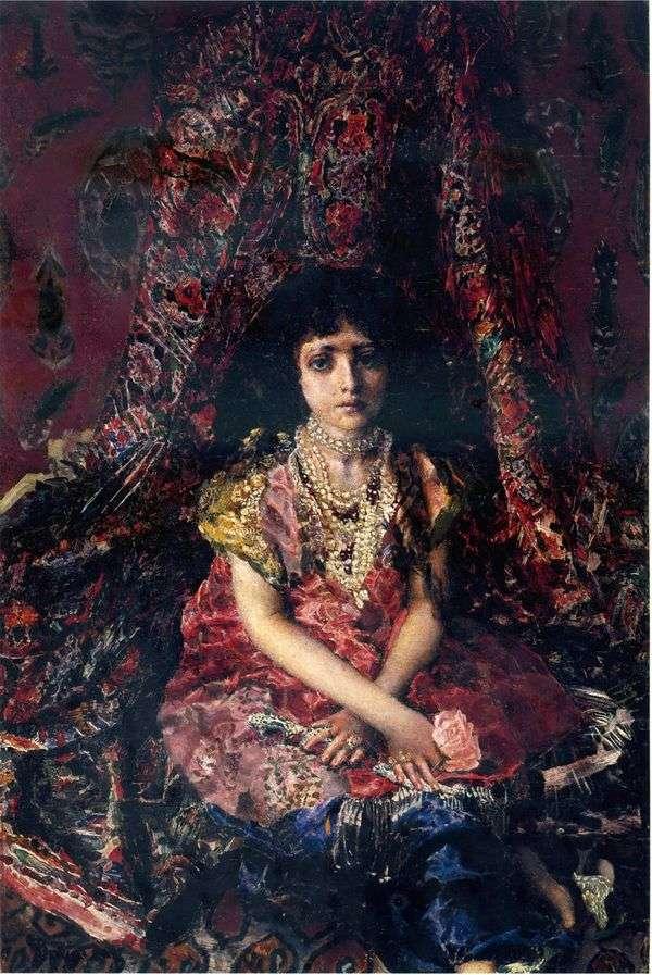 波斯地毯的背景的女孩   米哈伊尔Vrubel