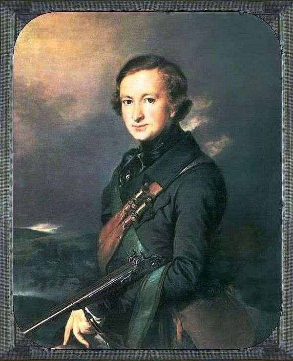 Yu. F。Samarin在狩猎服的画像   瓦西里Tropinin