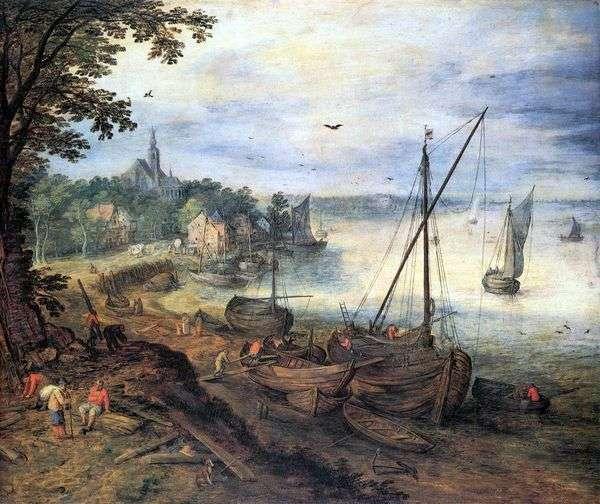 与伐木工人的河风景   Jan Bruegel