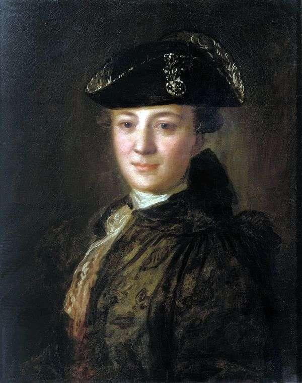 一个未知的画象在一个竖起的帽子   Fedor Rokotov