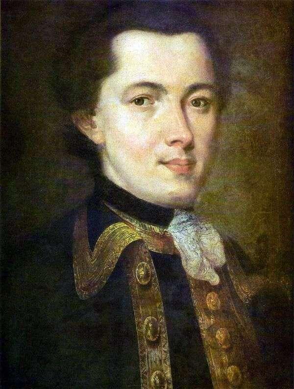 一名未知的年轻人的画象卫兵制服的   Fedor Rokotov