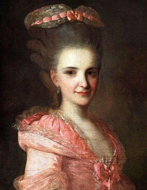 一名未知的妇女的画象一件桃红色礼服的   Fedor Rokotov