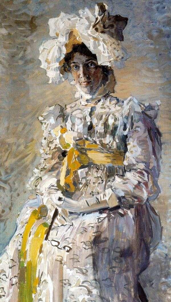 女演员N. I. Zabela Vrubel,艺术家的妻子,在夏季厕所Empire中的肖像   Mikhail Vrubel