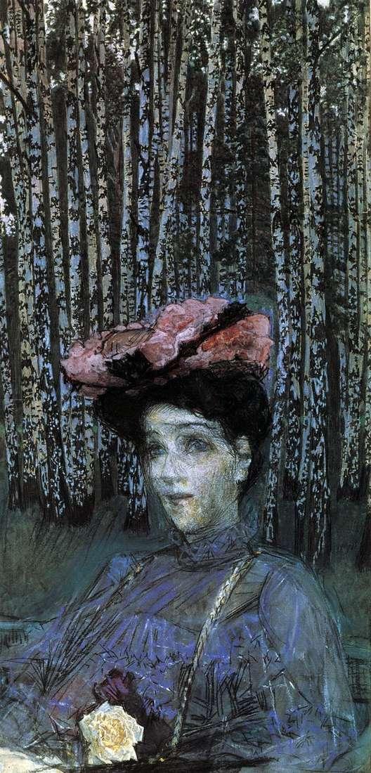 N. I. Zabela Vrubel画象以桦树为背景   米哈伊尔Vrubel