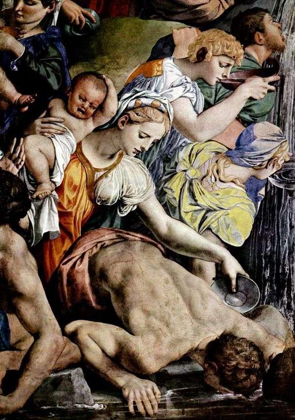 摩西从岩石(壁画)切割水   Agnolo Bronzino