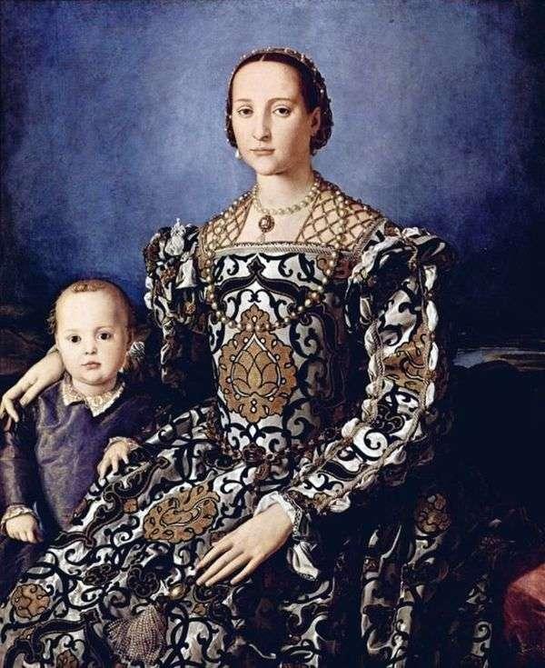 托莱多的Eleonora与她的儿子Giovanni Medici   Agnolo Bronzino的肖像